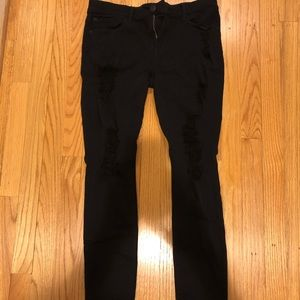 Express Jeans Legging Mid Rise Ripped Jeans